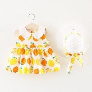 שמלה לילדות תפוזים עם כובע