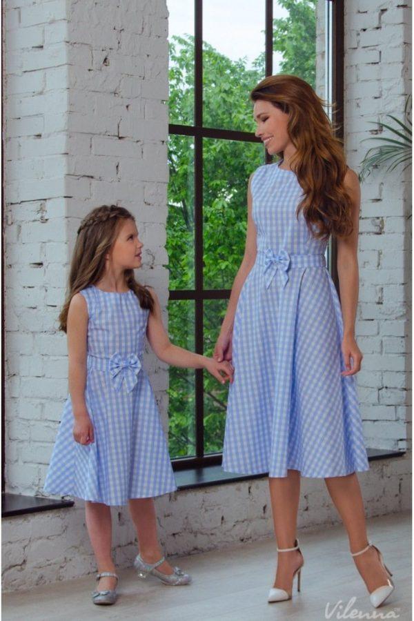שמלת נשים משבצות כחול-לבן