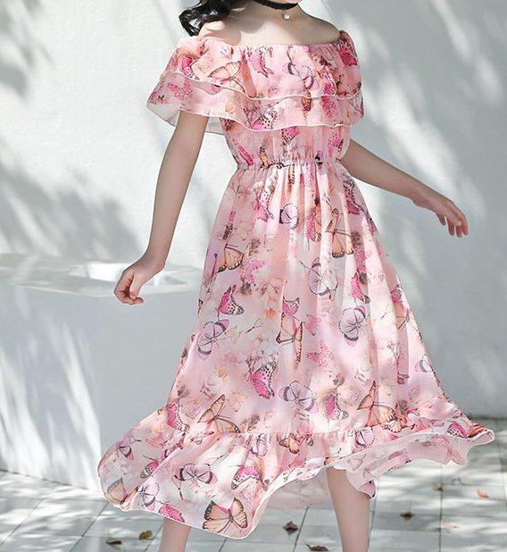 שמלה לילדות שיפון פרפרים