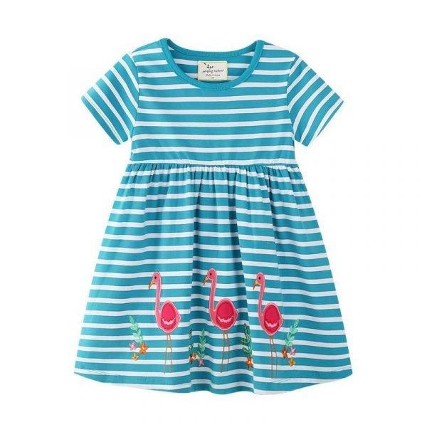 שמלה לילדה הדפס פלמינגו