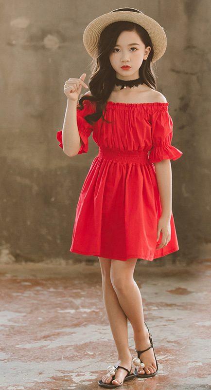 שמלה לילדות אדום אש