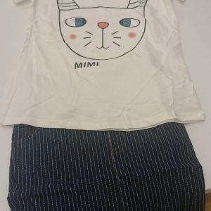 סט חולצה וחצאית חתולה מתוקה