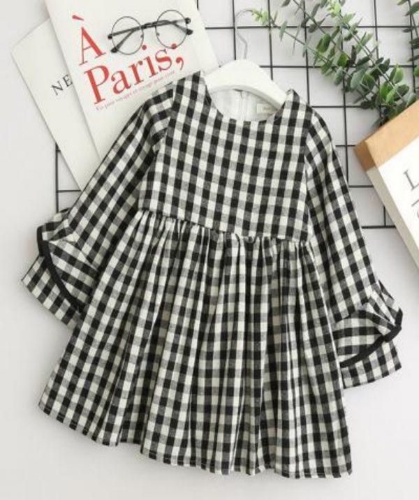 שמלה לילדה משבצות בסטייל