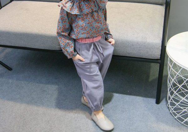 סט חולצה ומכנסיים לילדות פרחים בסטייל