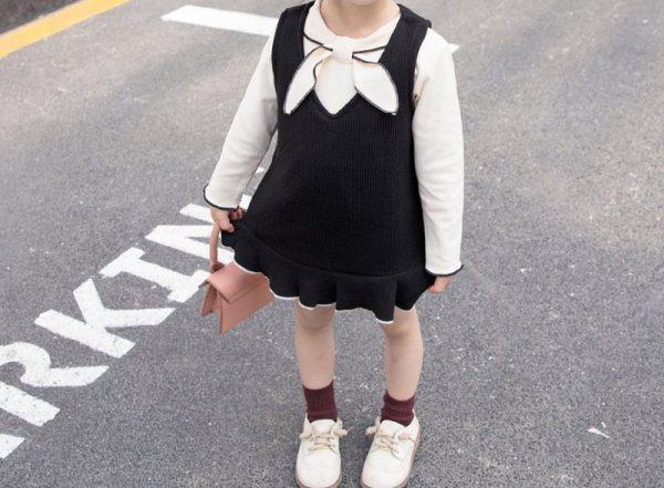 סט לילדה חולצה ושמלה חליפה בשמלה