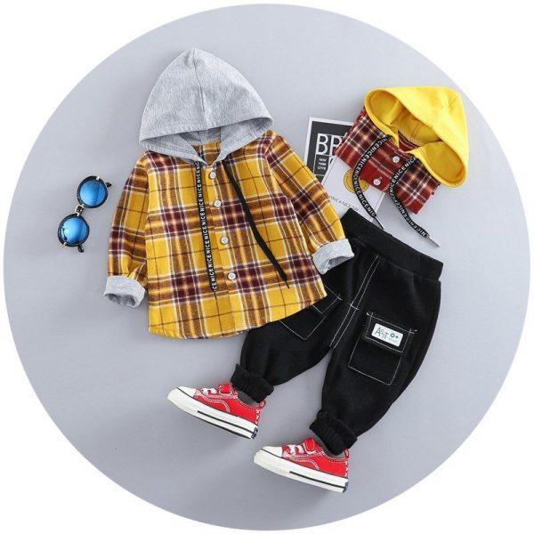 סט חולצה ומכנסיים לילד משבצות חרדל