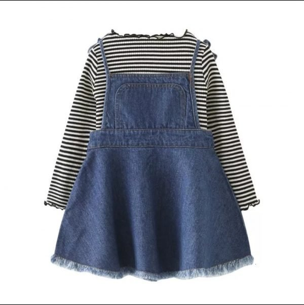 סט שמלה לילדות אוברול וג'ינס