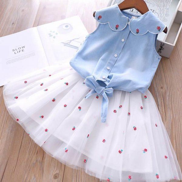 חצאית טוטו וחולצה לילדות שמיים כחולים
